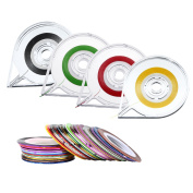 40 Pieces Striping Tape Line Nail Tape Roll for Art and 4 Pieces Tape Roller Dispensers, Assorted Colours