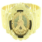 Mens Exclusive Icy Yellow Lab Created Cubic Zirconia Gold Finish Original Real G-Shock Watch