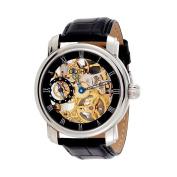 Gotham Men's Stainless Steel 17 Jewel Mechanical Skeleton Leather Strap Watch # GWC14059B