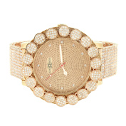 Men's Real Diamond Khronos Watch 14k Rose Gold Tone Big Face Flower Bezel Full Iced Out Band