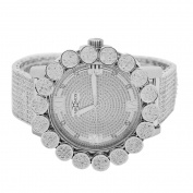 Mens White Gold-Tone Genuine Diamond Flower Cluster Bezel Watch with Full Jojino Iced out Metal Band