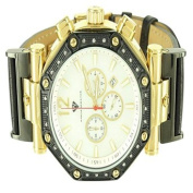 Mens High End Elegant Yellow Black Gold Finish Genuine Diamond Aqua Master Watch
