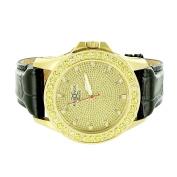 Leather Strap Watch Genuine Diamond Khronos Gold Tone Iced Out Canary Bezel Jojino Jojo Look