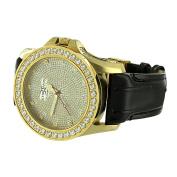 Mens Diamond Watches . Gold Finish Black Leather Band Stainless Steel Back Jojo Jojino Look
