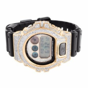14k Rose Gold Finish Digital Silicon Band DW6900 Lab Created Cubic Zirconia G Shock Watch
