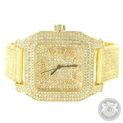 Techno Pave Watch Yellow Gold Finish Lab Created Cubic Zirconias Mens Party Wear