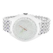 Watches For Men White Gold Finish Simulated Diamond Iced Tray Cluster Band Sale