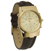 Mens Gold-Tone Braille and Talking Watch - Leather Band