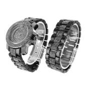 Watch Matching Bracelet Set Hematite Lab Created Cubic Zirconia Stone Iced Bling Master jojino