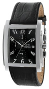 gino franco Men's 9630BK Square Chronograph Stainless Steel Genuine Leather Strap Watch