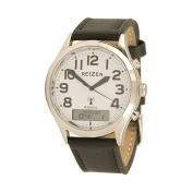 Reizen Low-Vision Ana-Digit Atomic Watch - Leather Band