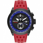 Glam Rock Men's Racetrack 48mm Red Silicone Band IP Steel Case Swiss Quartz Black Dial Watch GRT29115F-N