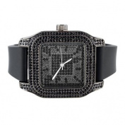 Men Techno Pave Black Lab Created Cubic Zirconia Square Dial Rubber Band Watch