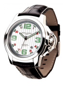 Jorg Grey Men's Black Genuine Leather Contrast Stitching Silver-Tone Dial Green Markers Movement
