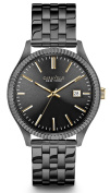 Caravelle Mens Chronograph Stainless Steel Case Gunmetal Finish Bracelet Grey Dial Round Watch - 45B120