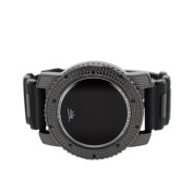 Mens Iced out Hip Hop Digital Touch Screen Lab Diamond Black Watch with Black Rubber Band