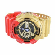 Mens Shock Resistant Watches Iron Man Red/Gold Classic Series Digital Analogue