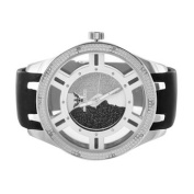Watches For Men White Gold Finish Black Silicone Band 53 MM Water Resistant