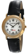 Timetech Glow in the Dark Round 14K Gold Plated Black Leather Band Watch 2653M