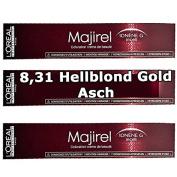 3x L 'Oreal Majire 8,31 Light Blond Gold Asch Creme Hair Colour – 50mll