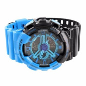 Mens Shock Resistant Sports Watch Black Blue Dial Silicone Band Digital Analogue
