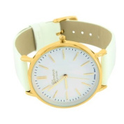 Gold Finish Watch Mens Ladies White Leather Band Sleek Platinum Geneva Analogue