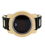 Mens Iced out Hip Hop Digital Touch Screen Lab Diamond Gold Watch with Black Rubber Band