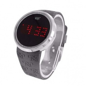 Touch Screen Watches Techno Pave For Men White Finish Rubber Black Band