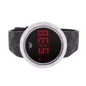 Touch Screen Techno Pave Watch White Finish Lab Created Cubic Zirconia Digital LED DIsplay