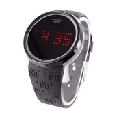 Touch Screen Watch Silicone Black Band Mens Techno Pave LED