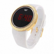 Techno Pave Touch Screen Watch Mens Simulated Diamond White Rubber Band
