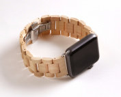 Luxury Handmade Wooden Band with Stainless Steel Buckle Replacement Band for Apple Watch Series 1 and 2