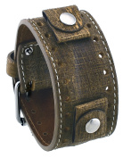 Rev #GS-C Golden Sahara Groot Pattern Camel Brown Wide Leather Cuff Watch Band