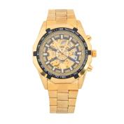 WINNER Men's Hollow Out Skeleton Dial Steel Strap Self-Wind Mechanical Wrist Watch - Golden