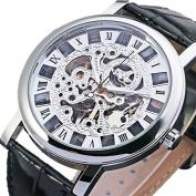 Dress Mens Silver Skeleton Mechanical Wristwatch Hand-wind Steampunk See-through