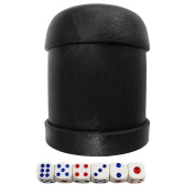Sharplace 1 Pcs Plastic Round Shaker Cup w/ 6x Dices KTV Party Bar Casual Toy Black