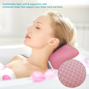 Bath Pillow with Suction Cups, Supports Neck and Shoulders for Home Spa, Bathtub, Hot Tub, Anti Bacterial, Luxu