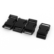 Unique Bargains 4pcs Black Plastic Curved Clasp Side Quick Release Buckles for 20mm Webbing Band