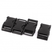 Unique Bargains 4pcs Black Plastic Curved Clasp Side Quick Release Buckle for 25mm Webbing Strap