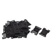 Suitcase Backpack Strap Plastic Side Quick Release Buckle Black 26mm 20pcs