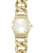 Journee Collection Women's Round Face Metal Curb Link Fashion Watch, Gold
