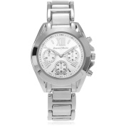 Journee Collection Women's Roman Numeral Link Fashion Watch, Silver