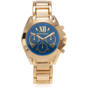 Journee Collection Women's Roman Numeral Link Fashion Watch, Blue/Gold
