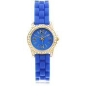Journee Collection Women's Rhinestone Silicone Strap Fashion Watch, Blue