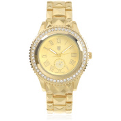 Journee Collection Women's Rhinestone Round Face Roman Numeral Metal Link Fashion Watch, Gold