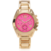 Journee Collection Women's Roman Numeral Link Fashion Watch, Hot Pink/Gold