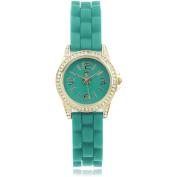 Journee Collection Women's Rhinestone Silicone Strap Fashion Watch, Green