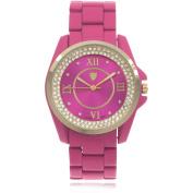 Journee Collection Women's Rhinestone Roman Numeral Round Face Metal Link Fashion Watch, Pink