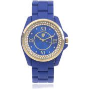 Journee Collection Women's Rhinestone Roman Numeral Round Face Metal Link Fashion Watch, Blue