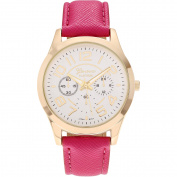 Geneva Platinum Women's Gold-Tone Round Case Faux Leather Strap Fashion Watch